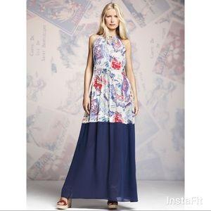 Peter Som haltered blue and white maxi dress